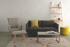 Show your floor some love - give it a rug! Lovely large wool geometric themed rug - perfect for a contemporary home