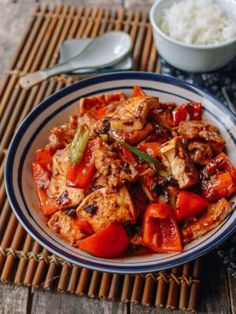 Hunan Pork and Tofu spicy stir fry is a classic dish served at many Hunan restaurants throughout China and the US. Hunan-style food, like Sichuan food, features hot chilis, fermented beans and green onions, much more. Pork Recipes, Asian Recipes, Chinese Recipes, Meal Recipes, Wok Of Life, Asia Food, Braised Pork, Thing 1, Pork Belly
