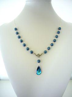 Peacock Pearl Necklace, Blue Wedding Necklace, Bermuda Blue Swarovski Teardrop, Antiqued Silver, Sterling Silver chain, Bridesmaid Gifts. $42.00, via Etsy.