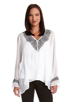 Karen Kane black and white peasant top available at Ear Abstracts Boutique