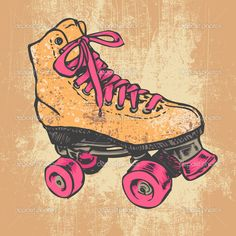 Retro Roller Skate And Grunge Texture Background. | Stock Vector © jumpingsack #22512201