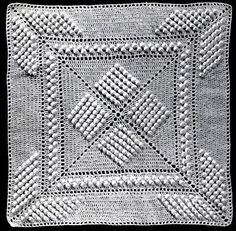 Star Popcorn Bedspread Pattern Square.  This is the individual square AND PATTERN for the bedspreads my grandmother and mom had made. Brother & I each have one of those bedspreads now.  I would love to made a pillow cover from this pattern, have to learn to crochet, first!!!!