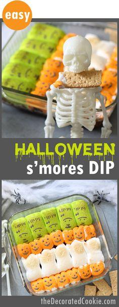 Halloween s'mores dip -- easy Halloween treat using Halloween Peeps marshmallows
