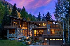 This captivating and expansive three-story modern mountain home with rustic nuances has been designed bySuman Architects, located in Vail, Colorado.