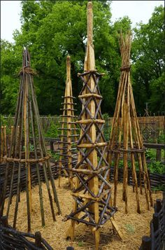 Unusual plant supports made of wood .Unusual plant supports made of wood Potager Garden, Garden Trellis, Garden Beds, Garden Art, Wood Trellis, Obelisk Trellis, Diy Garden, Tomato Trellis, Tomato Cage