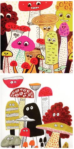 Elise Gravel Illustration • mushrooms • cute • champignons • vintage • fall • orange • brown • art • drawing • painting