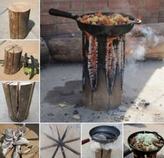 How to make a stove from a single log the whoot tent camping, diy camping. Diy Camping, Tent Camping, Camping Hacks, Outdoor Camping, Camping Gear, Camping Recipes, Camping Store, Camping Outdoors, Diy Rocket Stove