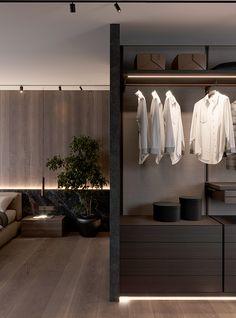 Brit Apartment on Behance Home Room Design, Home Interior Design, Interior Architecture, House Design, Urban Apartment, Apartment Interior, House Rooms, Modern Interior, Furniture Design