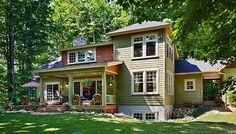 Exterior, horizontal, rear elevation 3/4 view, Baldwin residence, Harbor Springs, Michigan, Town & Country Cedar Homes