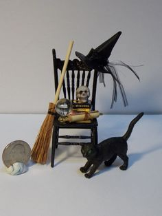Dollhouse Miniature Round Oak Table & 2 Chairs Kit by Chrysnbon. Halloween Shadow Box, Halloween Scene, Halloween Doll, Halloween House, Halloween Crafts, Halloween Decorations, Haunted Dollhouse, Haunted Dolls, Dollhouse Miniatures