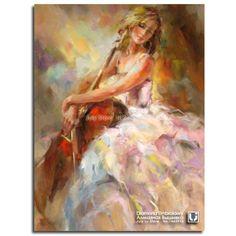 Красота с виолончелью алмаз вышивка человеческих девушка Diy полная картина стразы мозаика аватар хобби и ремесла украшения дома купить на AliExpress