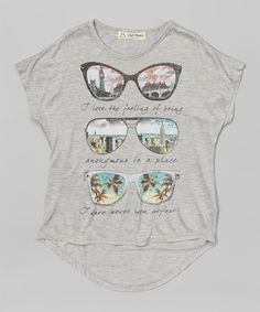 Look what I found on #zulily! Gray Glasses Viewing Graphic Tee - Girls #zulilyfinds