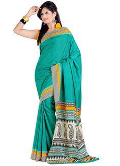 Magical Look #Printed #Silk #Saree