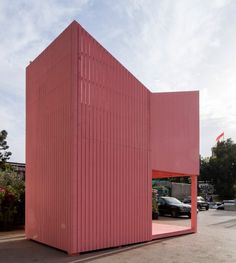 The pink wooden structure, dubbed the Silent Room, sits on a parking lot beside a busy highway in Beirut.