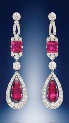 A pair of exquisite Art Deco Burma ruby and diamond ear-pendants. Source: Humphrey Butler 2012-13 catalogue.