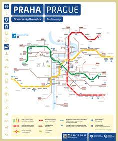 Plan del metro y tranvías en Praga