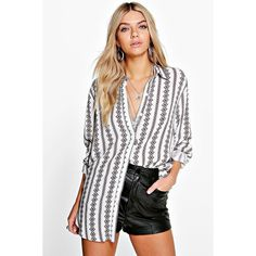 Boohoo Bella Printed Oversized Shirt ($30) ❤ liked on Polyvore featuring tops, t-shirts, white, t shirts, white crop top, white lace shirt, crew neck t shirt and long sleeve jersey shirt