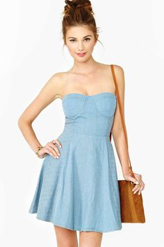 Quilted Chambray Dress in Promo Carpe Denim at Nasty Gal
