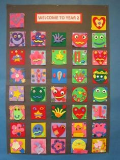 When the children spent an hour in their new class during the summer term, I asked them to design and create one small square.  I then displayed them as one large class piece of artwork which was put up in their new classroom, ready for them to see on the first day of term.