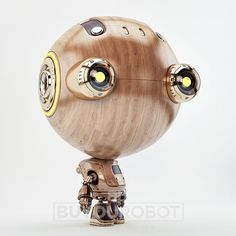 Wooden retro robot with big eyes. Buy lossless image with alpha