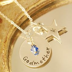 Items similar to Hand Stamped Jewelry - Godmother and Godchild Star - Personalized Jewelry - Sterling Silver Jewelry - Star Necklace - Birthstone Jewelry on Etsy Godmother Gifts, Godmother Quotes, Godmother Ideas, Fairy Godmother, Cute Jewelry, Jewelry Crafts, Godchild Gift, Hand Stamped Jewelry, Chains For Men