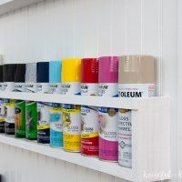 DIY Paint Storage Shelves - Office & Craft Room Makeover {Week - Houseful of Handmade Create the perfect DIY paint storage from scraps or cheap wood. These paint storage shelves can even be hung in closets or behind doors. Spray Paint Storage, Craft Paint Storage, Sewing Room Organization, Diy Storage, Storage Shelves, Diy Shelving, Organizing, Shelf, Craft Room Shelves