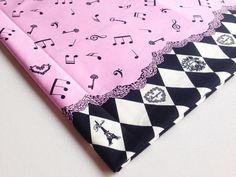 Cotton fabric Music in Paris Pink Black fabric 2 by PeacyFabrics