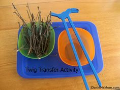 Transferring sticks is one of four activities we did to explore concepts talked about in the book Leprechauns Never Lie. #sensoryplay #learning #kids