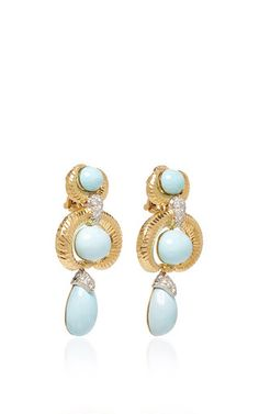 David Webb 2017 - oval turquoise cabochons and drops with brilliant-cut diamonds in hammered 18k gold and platinum.