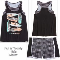 45f115c90fea NWT Justice Girl Size 16 18 2fer Sports Bra Tank Top Shorts Active Wear  2-PC SET