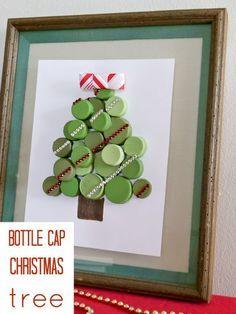 bottle cap chrsitmas tree, christmas decorations, crafts, seasonal holiday decor
