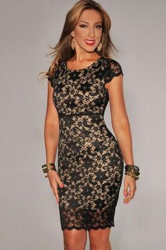 8213413a1a9b Short-sleeved round neck hook flower hollow temperament ladies halter dress  Black Lace Shorts