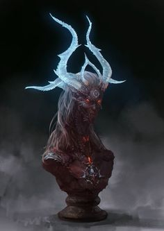 """I just adore the translucent horns on this demon head bust (怪物, aka """"Monster"""". Using Google Translate, it looks like this is by the artist 画谱 """"Huapu"""", http://blog.sina.com.cn/u/1889901874):"""