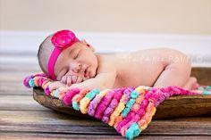 Pom Pom Blanket  Bucket Basket Filler  Newborn Photo by Jestti, $23.00