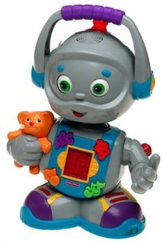 """Fisher-Price: Toby the Totbot by Fisher-Price. $29.95. Toby talks and sings when you push his buttons.. Fisher-Price's little toy robot puts the """"fun"""" in learning fundamentals. Integrated with singing, dancing and a cool light-up display screen, Toby Totbot teaches toddlers their ABCs, numbers (up to 10) and shapes. Imported."""