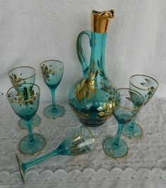 Vintage Aqua Electric Blue Floral Gold Gilt Glass Decanter Stopper & 6 Cordials by GenerationsEstate on Etsy