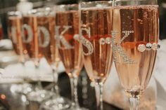Bridal Party Gift Ideas - Rhinestone stickers on Champagne glasses! Use the First Letter of Each Bridesmaid.