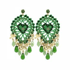 Lacrom Store    Claudia Baldazzi, Accessories, Pinecone Earrings  Earrings with cotton handmade crocheted cones, with golden brass details, moss green Swarovski, gold plated brass orchids, pendant crystal drops and peridot Swarovski pins.