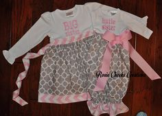Long or Short Sleeve Big Sister Little Sister Gown - Big Sister Dress Set - Gray Grey Pink- Coming Home Outfit -Baby Gift
