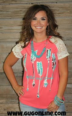 Wild and Free Arrow Short Sleeve Top in Coral and Ivory