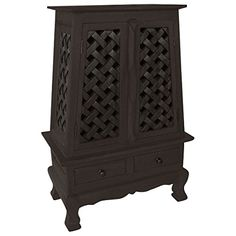 AsiaEXP Handcarved Acacia Wood Storage Cabinet/End Table, Elegant Lattice Design Home Furniture, Furniture Design, Bedroom Furniture, Wood Storage Cabinets, Lattice Design, Acacia Wood, Leather Crossbody, Crossbody Bag, End Tables