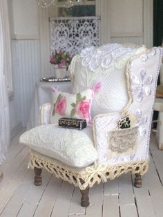 dollhouse miniature handmadelace chair by cinderellamoments vintage modern dollhouse furniture 1200 etsy