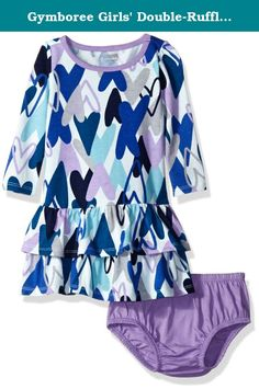 Gymboree Girls' Double-Ruffle Long-Sleeve Dress, Heart Multi, 6-12. Long-sleeve dress with allover print and double-ruffle skirt; great fall fashion with great details.