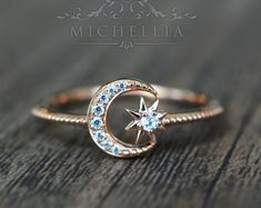 Rings Promise Solid Gold Diamond Moon and Star Ring, Promise Ring, Engagement Ring, Galaxy Ring, North Star Ring Moon Jewelry, Cute Jewelry, Jewelry Rings, Jewelry Accessories, Jewlery, Jewellery Stand, Jewellery Making, Jewelry Shop, Jewelry Stores