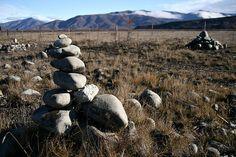 Rock piles at Lake Tekapo, New Zealand