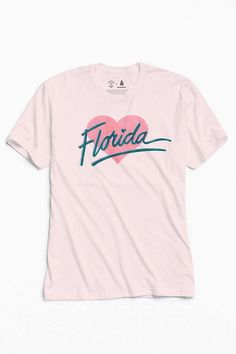 Shop UO Community Cares + Hurricane Relief Florida Heart Tee at Urban Outfitters today. We carry all the latest styles, colors and brands for you to choose from right here. Tees For Women, Tee Design, Direct To Garment Printer, Shirt Style, Graphic Tees, Tee Shirts, Florida, Mens Tops, Community