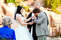 This could be one of the sweetest ceremony shot's we've ever seen #truelove #Disney #wedding #Epcot