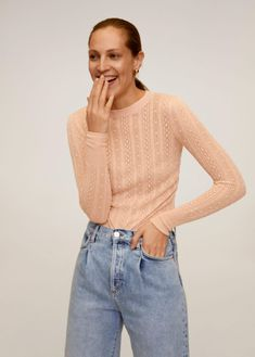 Pull-over détails ajourés Pullover, Pulls, Cable Knit, Sweater Cardigan, Mom Jeans, Mango, Recycling, Sweaters For Women, Turtle Neck
