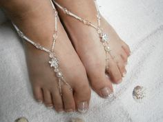 White Barefoot Sandals - Beaded Foot Jewelry - Silver flower Barefoot sandles - Slave Anklet - Nude Shoes - Bridal sandals - Beach Wedding on Etsy, $21.13