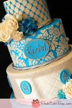 Blue Sweet 16 Cakes These cake tins are for all occasions from weddings, to Christmas, Anniversaries, Birhtdays, Valentines day etc. Pretty Cakes, Beautiful Cakes, Amazing Cakes, 16 Birthday Cake, Sweet 16 Birthday, 16th Birthday, Birthday Ideas, Cupcakes, Cupcake Cakes